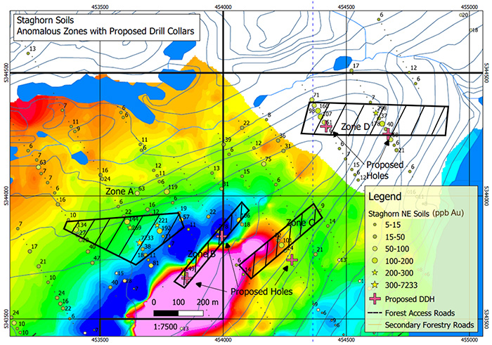 Staghorn proposed drill holes. Note results plotted as ppb Au (in-soils) on total field magnetic background.